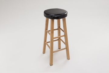 Picture of Chair - Bar Stool Natural W/Black Padded Seat